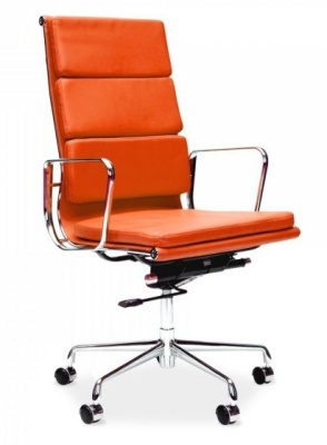 Eames Soft Pad High Back Chair In Orange Leather