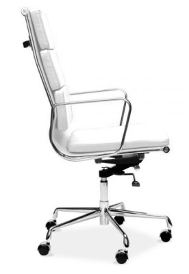 Eames High Back Designer Chair In White Leather Side View