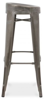 Xavier Pauchard High Stool With A Round Seat In Gun Metal Side View