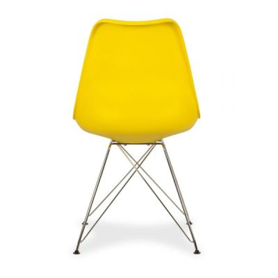 Eames Inspired Yellow Chair With A Padded Seat