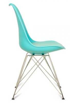 Eames Inspired Eiffel Chair With A Padded Seat In Turquoise