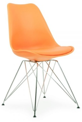 Eames Inspired Poly Chair With A Seat Pad And Eiffel Legs