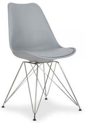 Eames Inspired Grey Poly Chair With A Seat Pad And Eiffel Legs