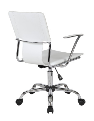 Allure White Leather Studio Chair Rear Angle