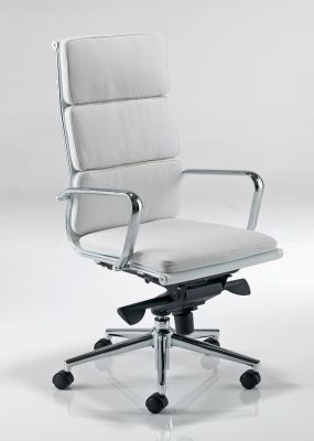 Eames High Back White Leather Executive Chair On Silver Base With Castors