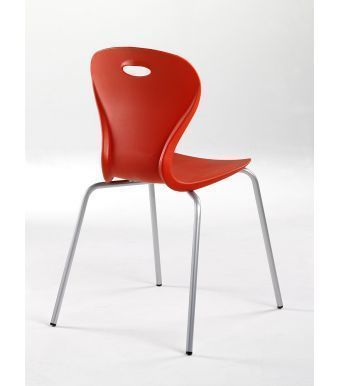 Solar Canteen Chair In Red Plastic With Chrome Frame