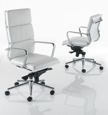 Eames Luxury White Leather Manager Chairs With Chrome Frame
