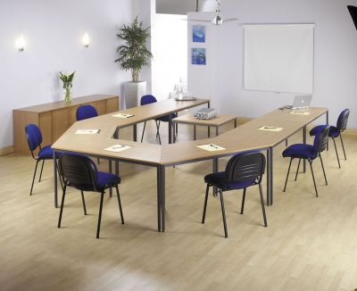 Modern Meeting Room Using Flexi Rectangular Tables And Blue Fabric Seating