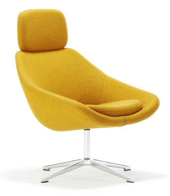 Open Designer Tub Chair With A Swivel Base And Headrest
