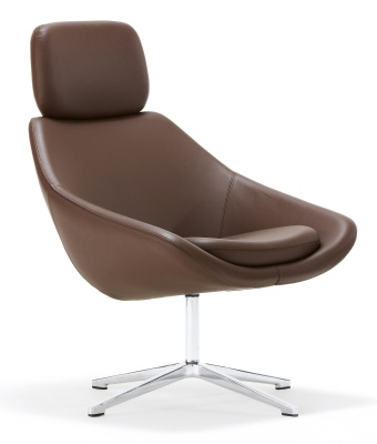 Open Designer Tub Chair With Headrest Front Angle