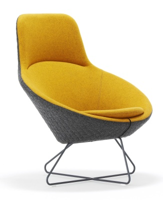 Conic Lounge Chair With Headrest Front Angle