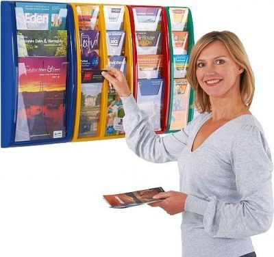 Overlapping Moulded Frame Leaflet Holders In Blue,red,yellow And Green