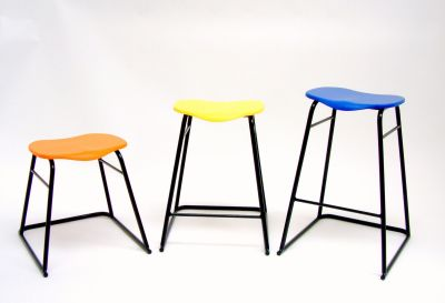 Three Laboratory Stools In Different Sizes With Orange,yellow And Blue Seats