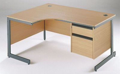 Maddellex Left Hand Corner Desk With Integral Two Drawer Pedestal In Beech With Graphite Grey Powder Coated Steel Frame