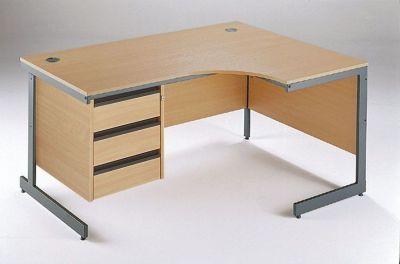 Maddellex Right Hand Corner Cantilever Desk In Beech With Built In Three Drawer Pedestal