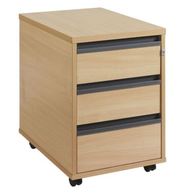 Maddellex Three Drawer Mobile Pedestal In Beech With Lockable Drawers