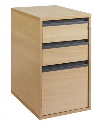 Maddellex Desk Height Pedestal With Two Shallow Drawers And One Foolscap Filing Drawer In Beech