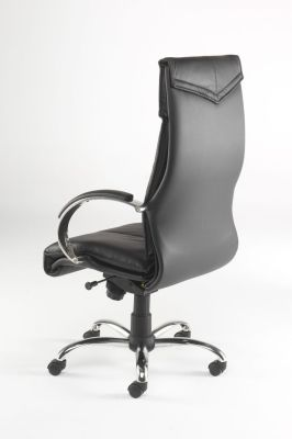 Valentino Black Leather Executive Chair With Fine Headrest Stitching, Padded Armrest And Shaped Back