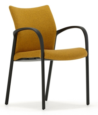 Trillipse Chair Fully Upholstered With Arms And Black Frame Side Angle View