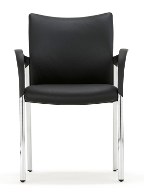 Trillipse Chair In Black Leather With Chrome Frame And Arms Facing