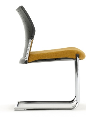 Trillipse Chair Chrome Cantilver Frame And Upholstered Seat Side Shot