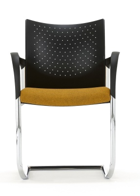 Trillipse Chair With A Chrome Frame And Arms Front View