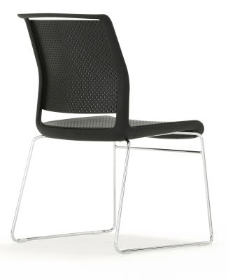 Ad Lib Chair In Black With A Skid Frame Rear Angle Shot