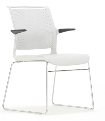 Ad Lib Designer Conference Chair, Light Grey Shall With Arms Front Angle
