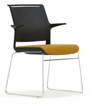 Ad Lib Chair With An Upholstered Seat And Arms Front Angle Shot
