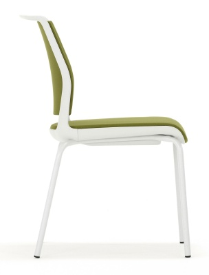 Ad Lib Chair With A Light Grey Frame And Green Fabric Side View