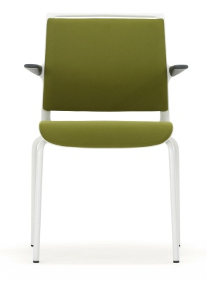 Ad Lib Fully Upholstered Conference Arm Chair With A Light Grey Frame Face View