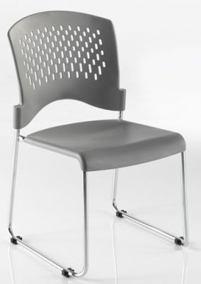 Dotty Waiting Room Chair In Grey With Chrome Skid Base And Integral Linking Devise