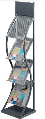 Wave Grey Freestanding Leaflet Holder With Four Holders