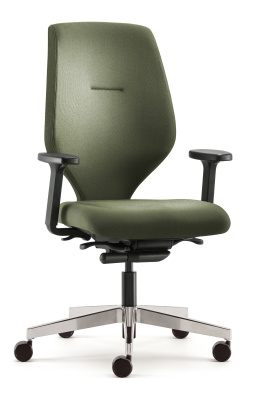 Ess Task Chair With Height Adjustable Arms And A Polished Base Front Angle