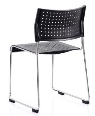 Vica Skid Frame Stacking Chair In Black Polypropylene