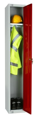 Elite Locker With Protective Clothing Inside, Single Shelf And Red Lockable Door