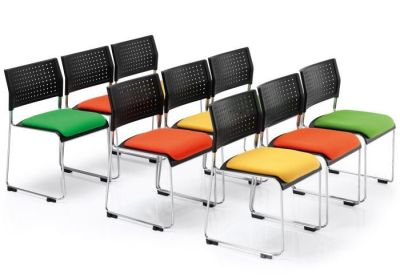 Meeting Room With Vica High Density Stacker Chairs With Upholstered Seats In Different Colours