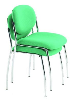 Stack Of Two Sequence Classroom Chairs In Bright Green Upholstery