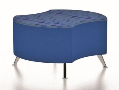 Bondai Low Circular Stool With Two Cut Outs And Chrome Angular Feet