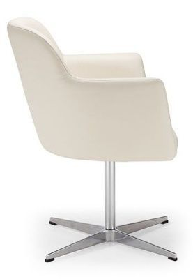 Anthea White Leather Tub Chair With Chrome Base
