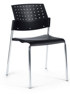 Movie Designer Poly Chair In Black With Chrome Frame