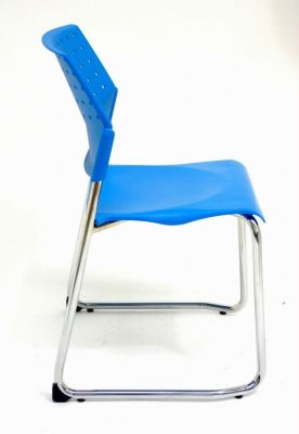 Movie Sled Base Blue Meeting Chair