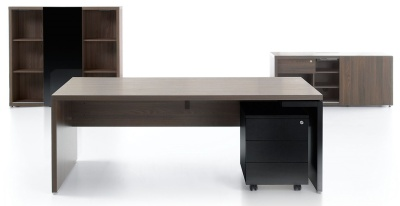 Mito Executive Desk Dark Sycamore