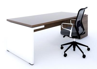 Mito Pedestal Desk Dark Sycamore And White