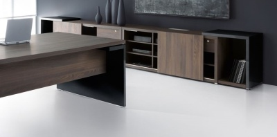 Mito Executive Credenza Dark Sycamore And Black