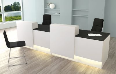 Cadix Reception Desk With Two Positional Conter Tops And Front Panels