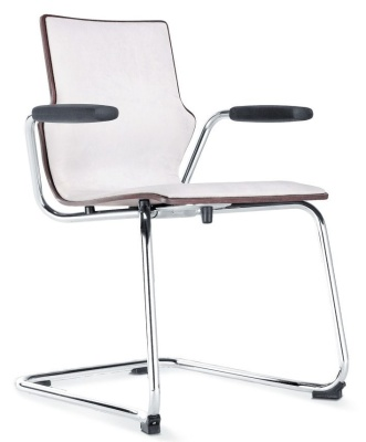 Conversa Chair With A Cantilver Frame Short Arms And An Upholstered Front