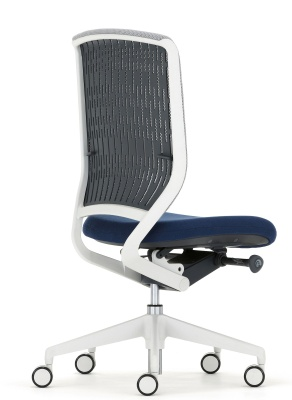 Evolve Task Chair Black Mesh Light Grey Componemets Back Angle View