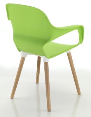 Ludo Chair Rear Angle Beech Legs Green Shell
