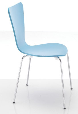 Keeler Blue Plywood Chair Side View